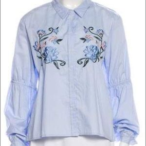 Sanctuary Blue Floral Embroidered Long Sleeve Top